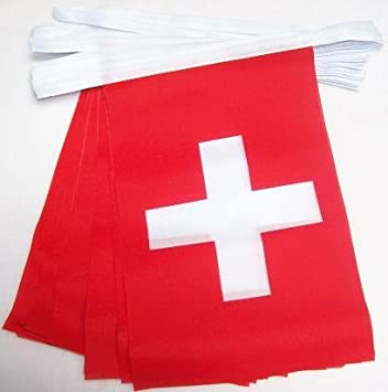 AZ FLAG Guirnalda 4 Metros 20 Banderas de Suiza 15x10cm - Bandera Suiza 10 x 15 cm - BANDERINES: Amazon.es: Hogar