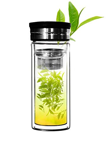 Sun's Tea 18oz Ultra Clear Spill-proof Strong Double-wall 3-Piece Borrosilicate Glass Tea Tumbler with Strainer (flat top lid)