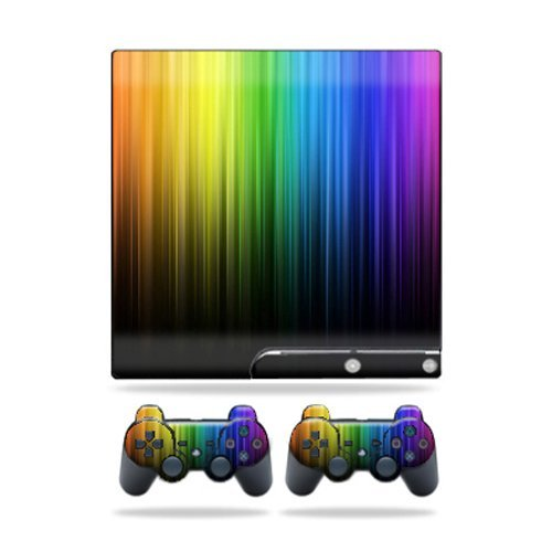 MightySkins Skin Compatible with Sony Playstation 3 PS3 Slim Skins + 2 Controller Skins Sticker Rainbow Streaks (Ps3 Controller Rainbow)