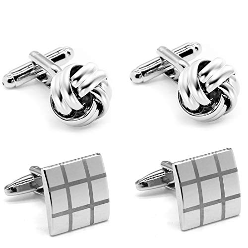 2 Pairs Mens Cufflinks Knot and Square Unique Wedding Business Shirt Cuff Links Mix Design Set For Mens Jewelry With Gift Box By Gilind ()