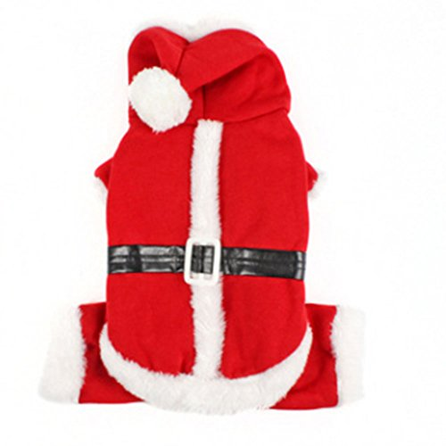 Aprettysunny Winter Warm Dog Hoodies Coats Christmas Halloween Pet Costumes Dress Red Clothes