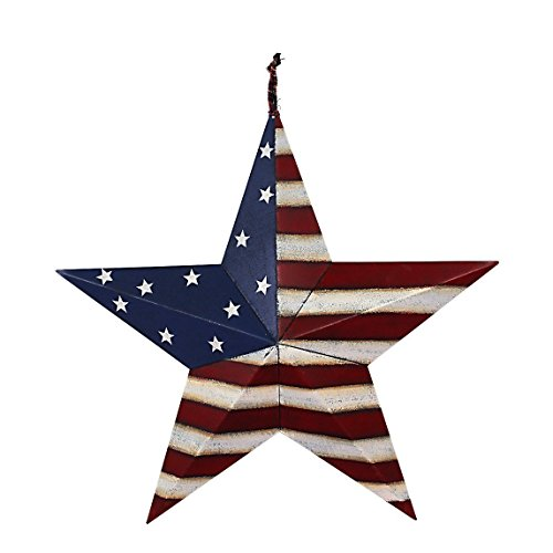 Grace Home Metal Patriotic Old Glory Americana Flag Barn Star Wall Decor July of 4th Independence Day Memorial Day Hanging Decoration -