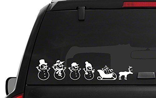 - Snowmen Family stick figure Merry Christmas sticker funny cute bumper window car vinyl saying lettering macbook sticker stencil decal art Die-Cut (no background color)