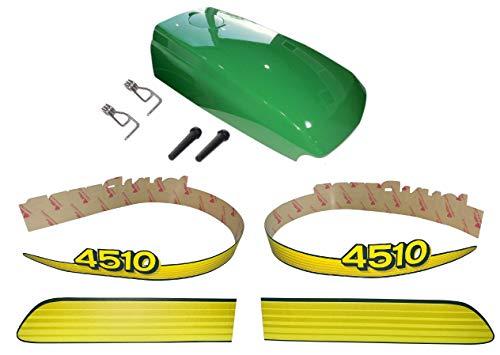 New Kumar Bros USA Upper Hood & Fuel Door with Fuel Door Mounting Hardware and LH/RH Decal Set Fits John Deere 4510