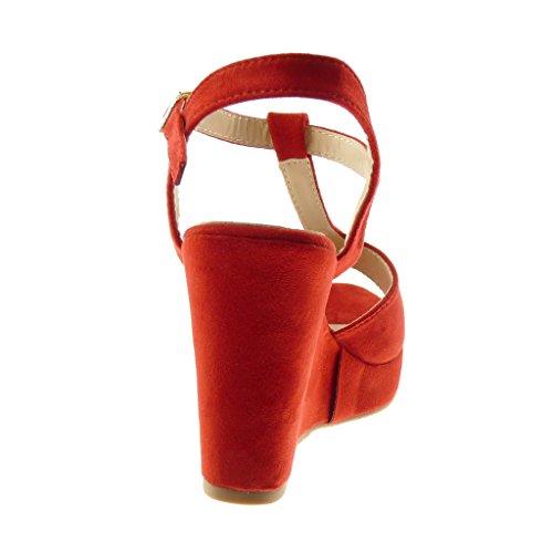 10 Toe Mode Talon Compensé Femme Plateforme Rouge Peep Salomés Sandale Mule Chaussure Angkorly Lanière Plateforme cm TYpqOO