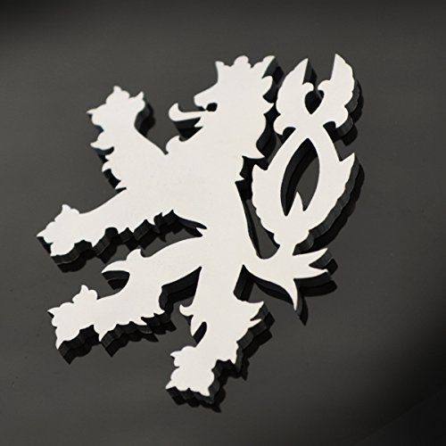 Stainless Steel Czech Republic Lion Metal Decorative Emblem Decal Ornament Crest Blasted, Mirror Polished, or Black 3