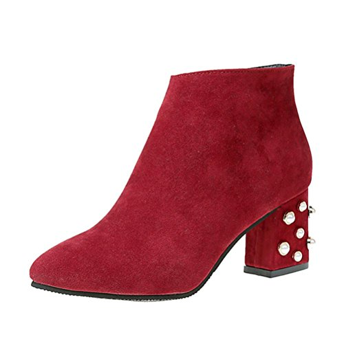 Transer Chic Pearl Decor Women High Heel Short Boots,Ladies Boots Ankle Red