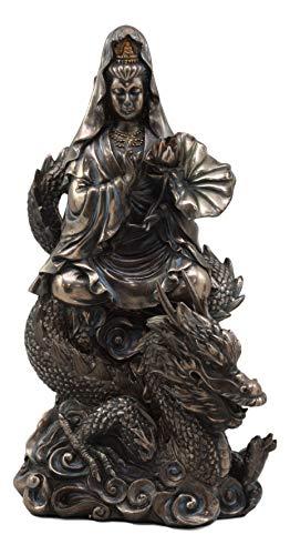 Ebros Avalokiteśvara Meditating Buddha Kwan Yin Kuan Yin On Dragon Statue 11