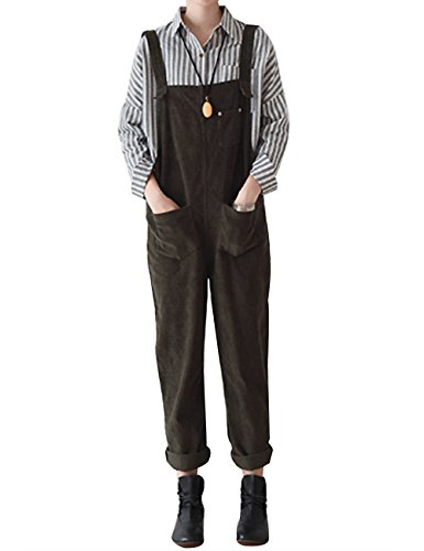 Corduroy Bib Pocket Overall (Yolee Women's Corduroy Bib Overall Rompers Jumpsuit Front Two)