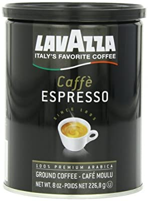 Lavazza Caffe Espresso Ground Coffee, Medium Roast 8 oz Cans Full Case of 12