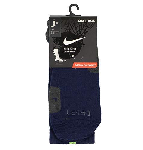 Nike Men's Elite Basketball Crew Socks Large (8-12) Blue Gray Cyber Green