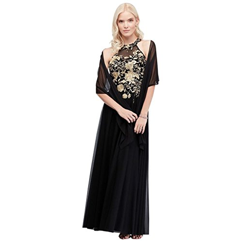 Metallic Embroidered Jersey Chiffon Halter Mother of Bride/Groom Dress Style 59562D, Black, 16