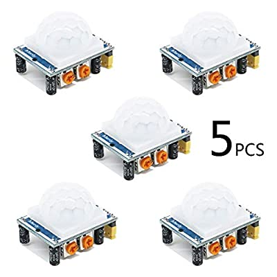5 Pack HC-SR501 Adjustable IR Pyroelectric Infrared PIR Motion Sensor Detector PID Modules for Arduino & Raspberry Pi Projects