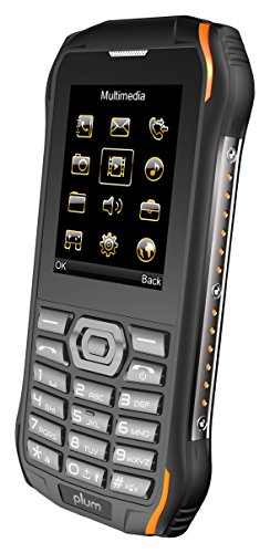 Plum Ram 6 - Rugged Unlocked Cell Phone GSM Shock Water Proof IP 68 Certified Military Grade Camera Flash Light FM Radio Bluetooth SD Card Slot Dual Sim - Black/Orange -
