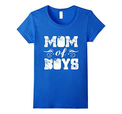 Women's Mom Of Boys Mom T-Shirt Large Royal Blue