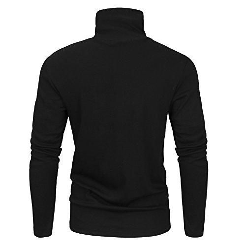 Derminpro Men's Thermal Turtleneck Soft Long Sleeve T-Shirt Black Medium
