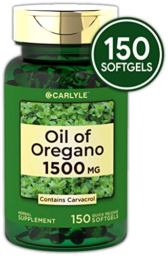 Oregano Oil 1500 mg 150 Softgel Capsules | Contains Carvacrol | Non-GMO & Gluten Free | Oil of Oregano Pills by Carlyle (Best Oil Of Oregano For Herpes)