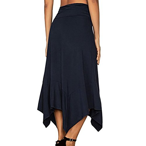 Irrgulire bleu Jupe Taille Femme Haute Jupe Dcontract Midi Hemline Solide Flowy Diadia Femme Vtements Mouchoir Flowy Midi Longue Jupe marine Lady nUWwzwaH
