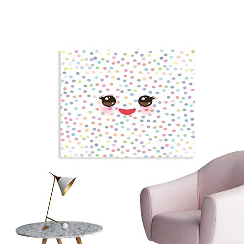 (J Chief Sky Eyelash Wallpaper Sticker Kawaii Funny Muzzle with Pink Cheeks and Cute Eyes on Colorful Polka Dots Backdrop Decor Mural for Home W36 xL24)