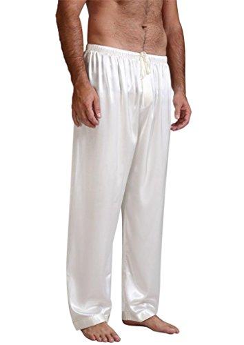 (Mens Silk Satin Pajamas Pyjamas Pants Sleep Bottoms White S)