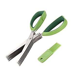 Xpatee 5 Blades Herb Scissors with Cleaning Brush (Green)