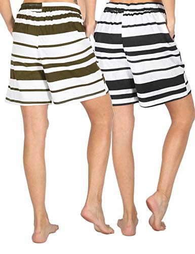 EWINK CUKOO Cotton Women Pajama Bermuda Shorts Stripes Sleep Lounge Shorts with Pockets