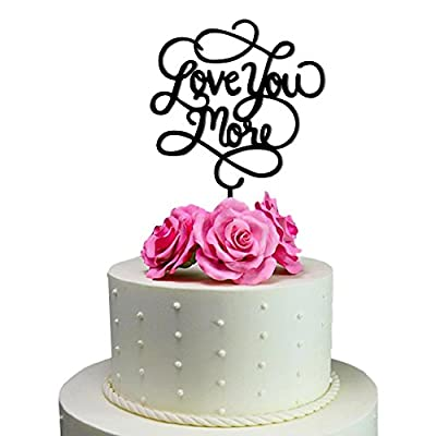 Sugar Yeti Brand Made in USA Cake Toppers Custom Personalized Love you More Wedding Cake Toppers Wedding Decoration Acrylic Cake Topper for Special Events