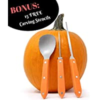Premium 3 Piece Pumpkin Carving Kit (Plus 15 Pumpkin Carving Pattern/Stencil E-Book) Sturdy Stainless Steel Pumpkin Tools Crafted For Efficiency While Carving Your Pumpkin, by Creative Carving