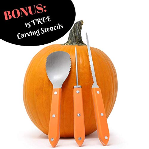 Premium 3 Piece Pumpkin Carving Kit (Plus 15 Pumpkin Carving Pattern/Stencil E-Book) Sturdy Stainless Steel Pumpkin Tools Crafted For Efficiency While Carving Your Pumpkin, by Creative Carving]()