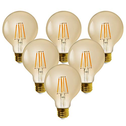 7W Dimmable LED Bulb,G25(G80),E26 Led Edison Bulbs,Soft Warm White 2500K,Ledspirit Filament Light Bulbs for Chandeliers,Pendant Lighting,Hotel,Bar or Restaurant,6-Pack
