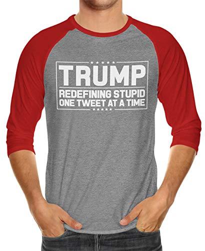 SpiritForged Apparel Trump Redefining Stupid One Tweet at A Time Unisex 3/4 Raglan Shirt, Red/Heather Medium