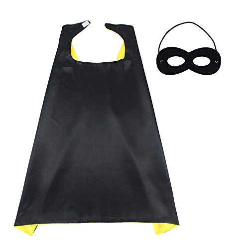 70cmX70cm Special Satin Boys&Girls Superhero Cape+Mask Any Color Double-Sided (Black-Yellow) -