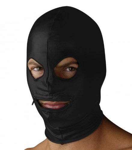 Strict Leather Spandex Zipper Mouth Hood with Eye Holes by Strict Leather