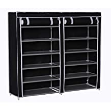 """Homebi Shoe Rack Closet Tower Portable Storage Organizer Double Rows 6-Tier Space-saving Shoe Case Cabinet with Dustproof Non-woven Fabric Cover in Black,47.24""""W x 12.4"""" D x 41.34""""H"""
