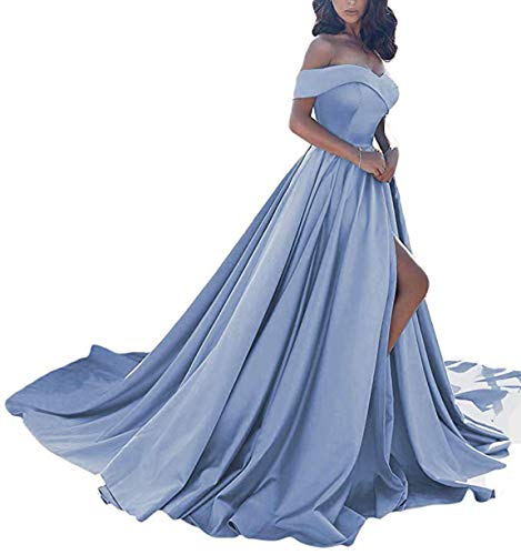 266af5f6f5a Scarisee Women's A-line Off Shoulder Prom Evening Dresses with High Split  Formal Long Wedding