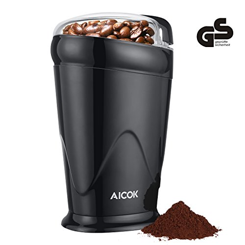 Aicok Electric Coffee Grinder Fast and Fine Fineness Coffee Blade Grinder Mini Spice Grinder for Coffee Beans, Spices, Nuts and Grains, 60g, 150W, Black