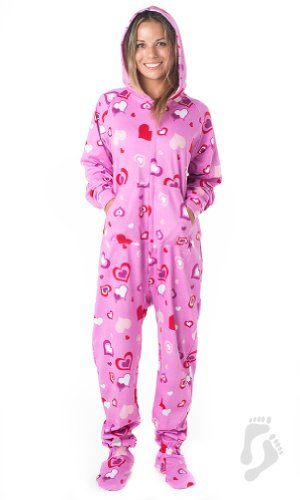 Footed Pajamas - Sweetheart Adult Hoodie Cotton