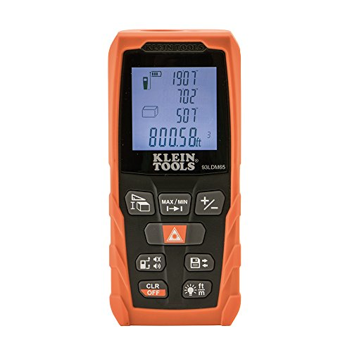 Klein Tools 93LDM65 Laser Distance Measure 98-Foot, Digital Backlit LCD, Distance, Area, Volume, Pythagorean