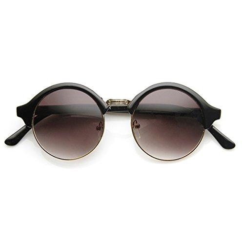 Vintage Glass Lavender (Vintage Inspired Classic Half Frame Semi-Rimless Round Circle Sunglasses (Black-Gold Lavender))