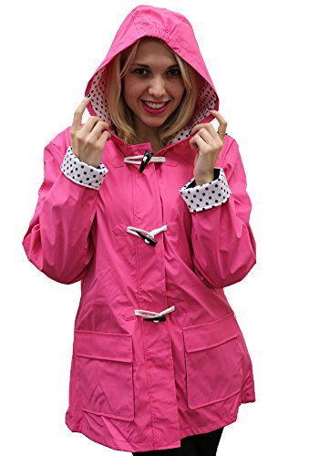 Women's Apparel No. 5 Hooded Toggle Rain Coat Fuschia Medium (Patterned Raincoat)