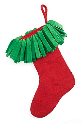 Arcadia Home (ARD4L) Hand Felted Wool-Fringe Christmas Stocking, Red Green - Felted Wool Christmas Stocking
