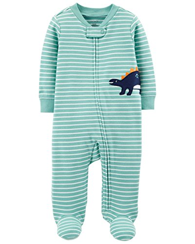 Carter's Baby Boys' Cotton Zip-up Sleep N Play (3 Months, Green Stripe Dinosaur)
