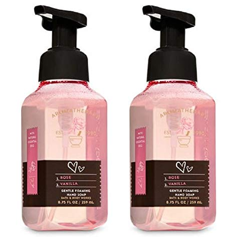 Bath & Body Works Aromatherapy Gentle Foaming Hand Soap in Rose Vanilla (2 Pack) (Vanilla Soap Warm Sugar Hand)