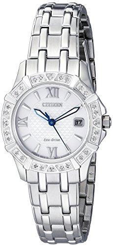 Citizen Women's 'Diamond' Quartz Stainless Steel Casual Watch (Model: EW2360-51A) (Model Casual)