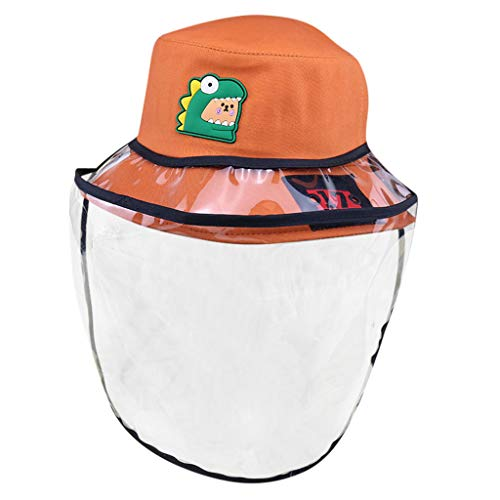 BBesty Safety Protective Face Shield for Kids Full Cover Cartoon Fisherman Hat Anti Pollution Waterproof Dust Proof Splashing Proof Clear Visor Facial Cover for Boys Girls