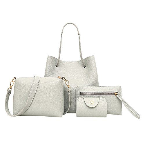 vermers Womens Bag Set Fashion 4Pcs Women Pattern Leather Handbag+Crossbody Bag+Messenger Bag+Card Package(Gray)