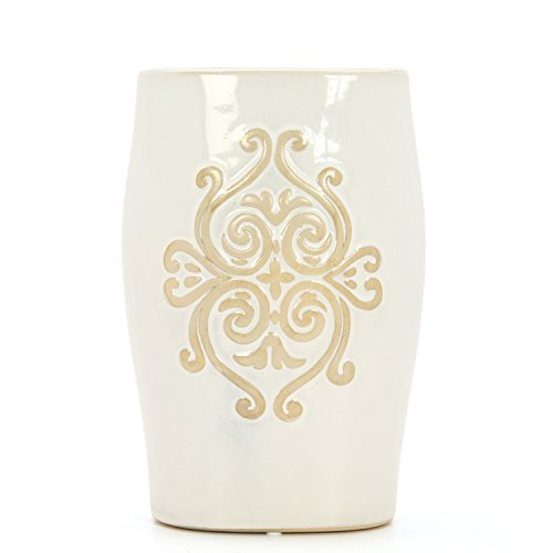 """Hosley 9.25"""" High, Tall Ceramic Oval Floor Vase with Scroll Design. Ideal for Flowers, Party, Weddings, Gifts, Reiki, Spa, Candle Garden Setting"""