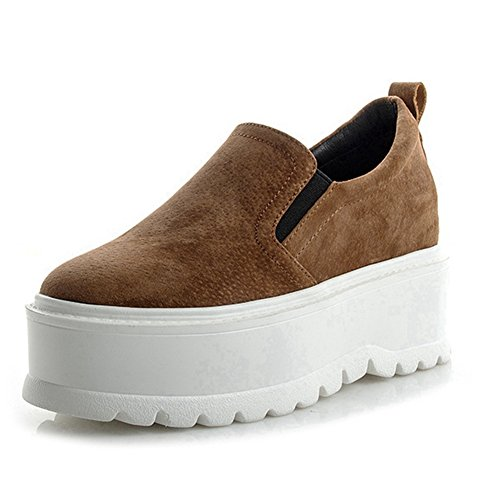 CYBLING Womens Fashion Platform Sneakers Flat Comfort Thick Sole Loafers Shoes Brown RSiaORajG1