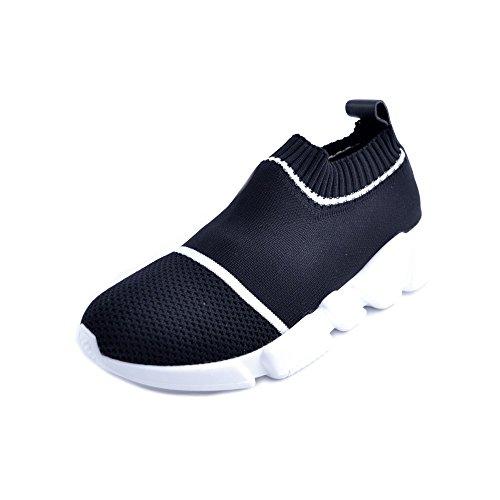 Nati Scarpe Maglia Slip Sneakers Taglia con 36 in da Bianche Tessuto on infilare Giulia Modello Nero Donna Righe nttaXr