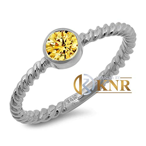 (Braided Style 14K Solid White, Yellow, or Rose Gold Round Cut Natural Yellow Citrine, Bezel Set Engagement Ring Solitaire Bridal 0.35ctw)
